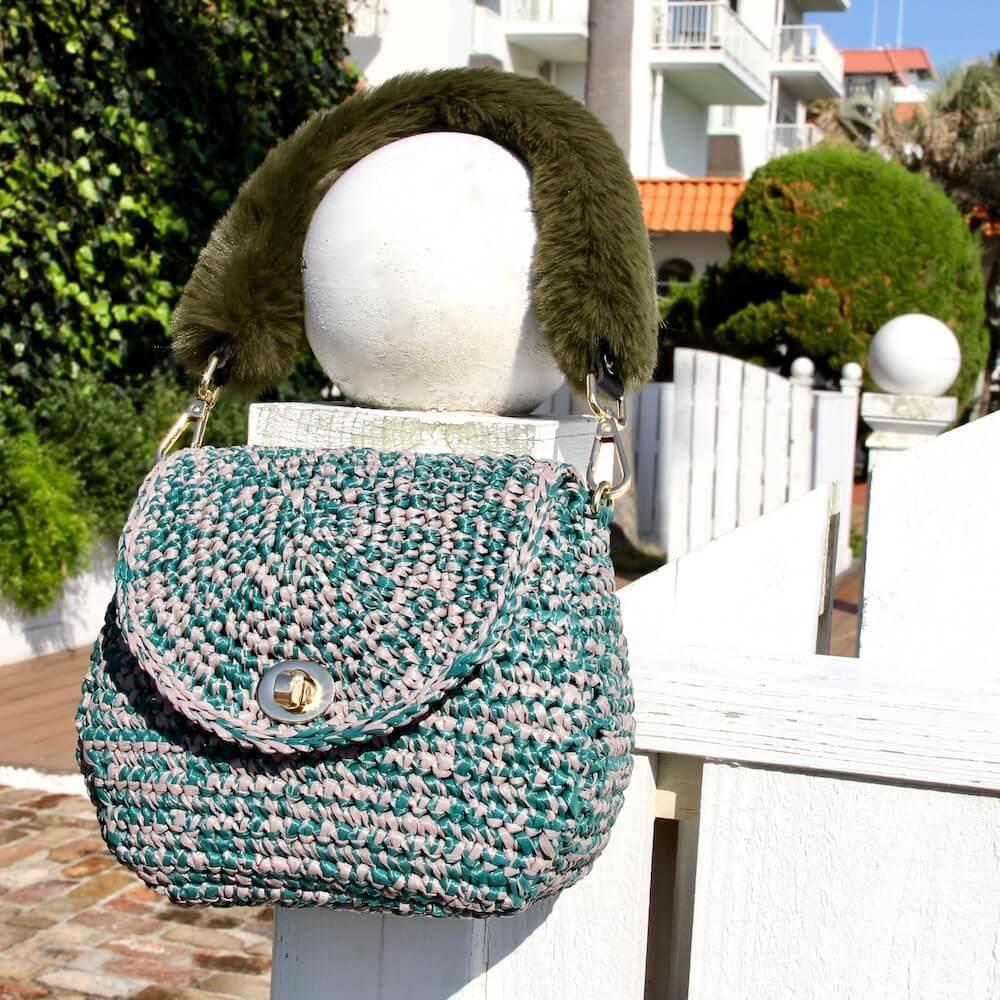 〈キット〉「meetangのまるころファーバッグ」キット カラー:グリーン×グレージュ Designed by meetang
