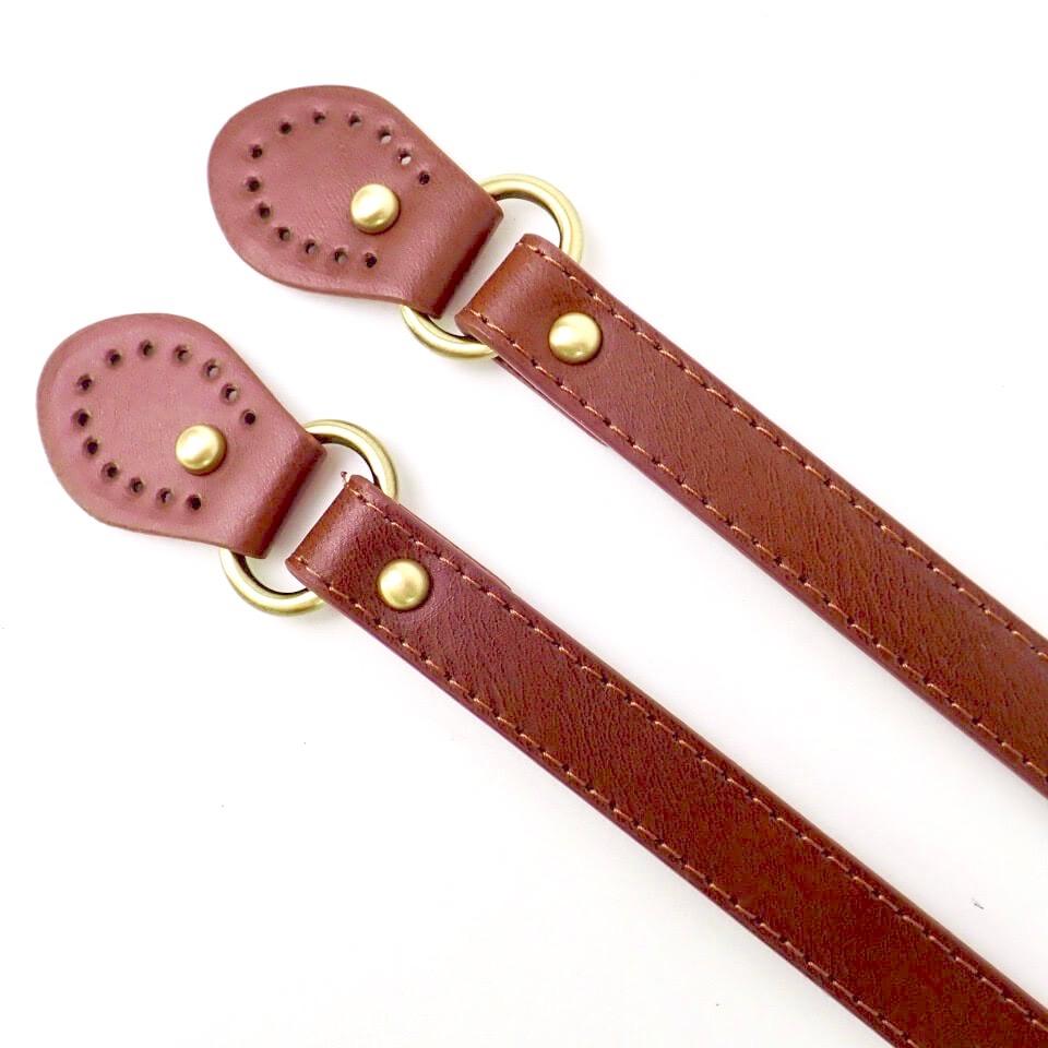 【送料無料】レザー持ち手金具付 長さ43cm 全4色 Cottonraffia