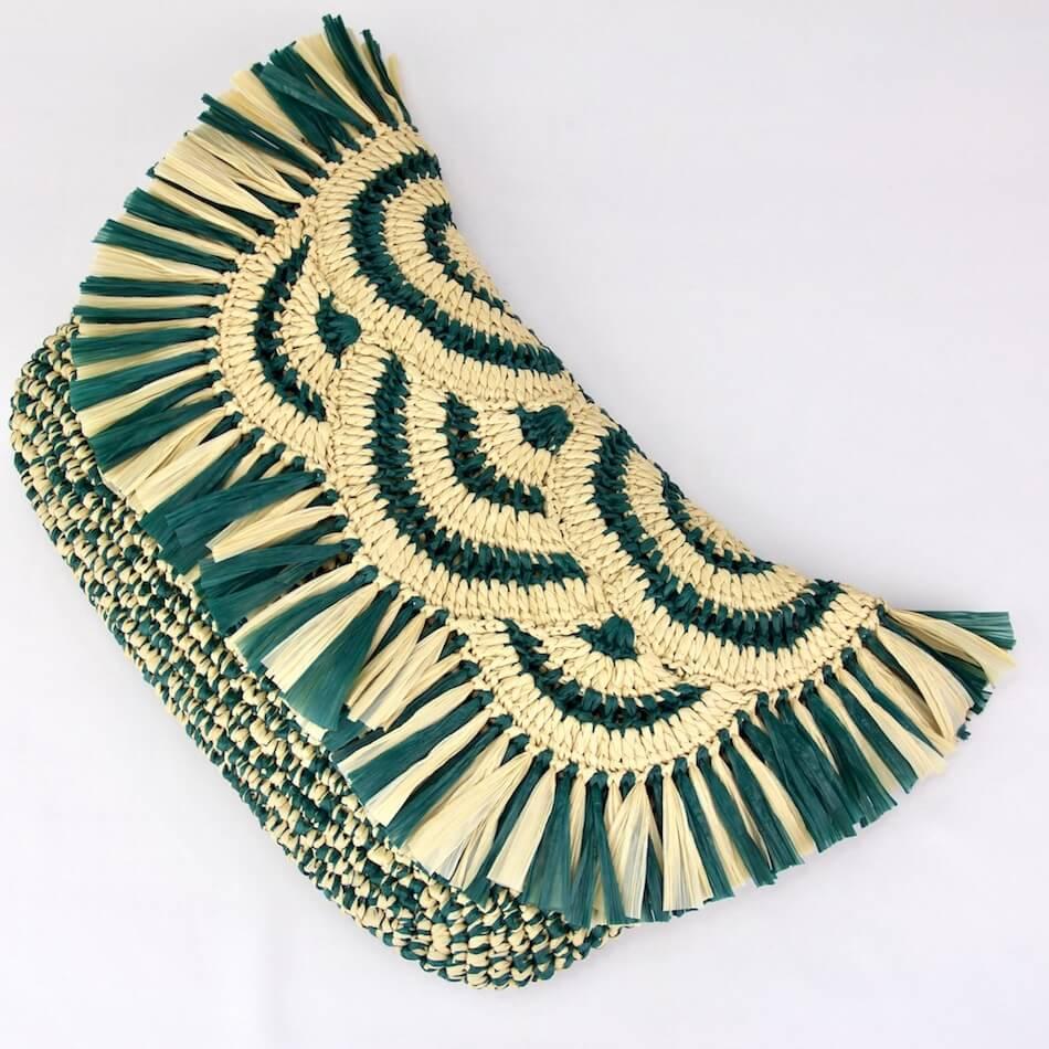 〈キット〉コットンラフィア すかし編みフラップクラッチ(ボヘミアン調)キット Designed by Kerry Owen