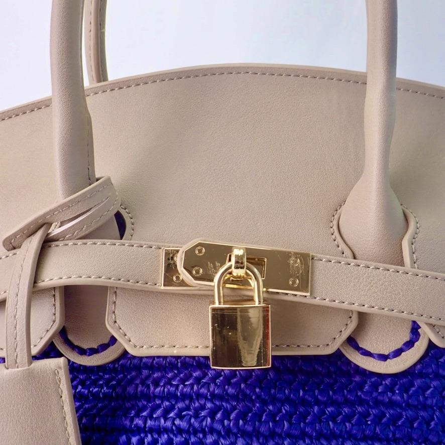 バーキン風バッグ用パーツ セット(グレージュ) <バーキン風バッグのためのオリジナルパーツ>