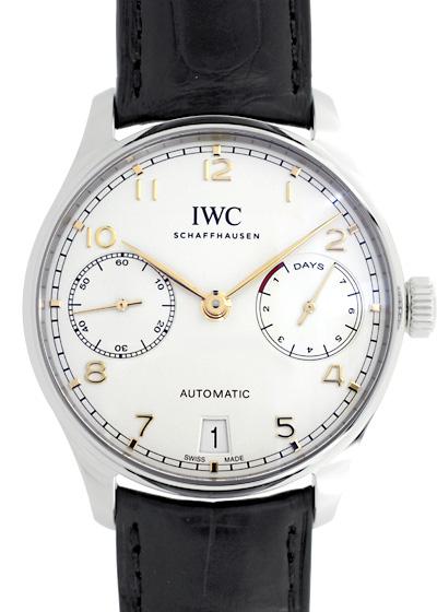 IWC IW500704 ポルトギーゼ オートマティック 7DAYS SS シルバー文字盤/金針 自動巻き レザー