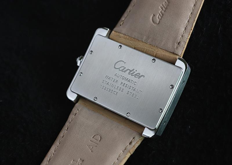 【中古】カルティエ W6300755 タンク ディヴァン LM SS シルバー文字盤 自動巻き レザー