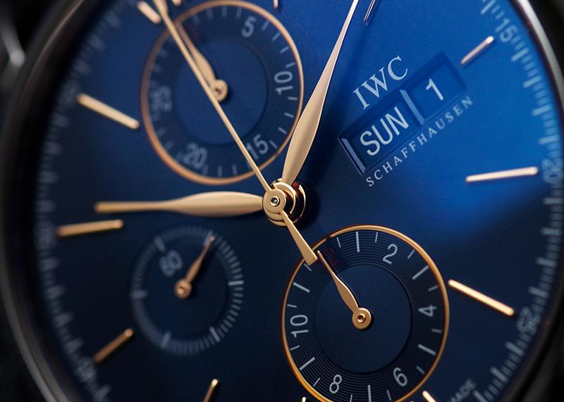 IWC IW391036 ポートフィノ クロノグラフ SS ブルー文字盤 自動巻き レザー