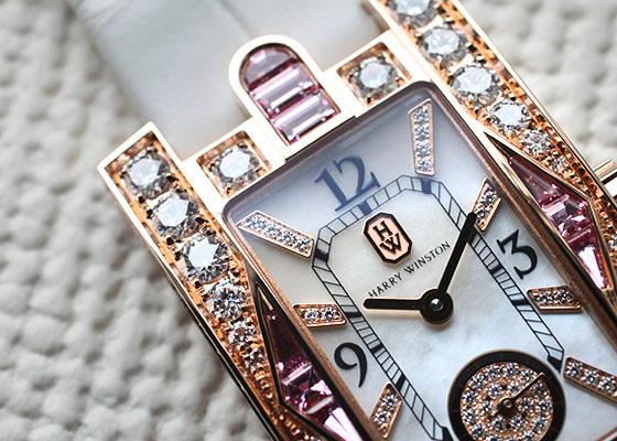 ハリーウィンストン AVEQHM21RR125 アヴェニュー・クラシック オーロラ RG シェル/ダイヤモンド文字盤 クォーツ レザー