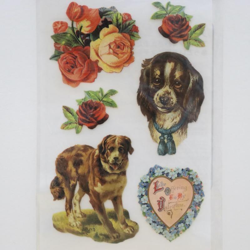 アイロン転写シート ヴィクトリアンシリーズ バラと犬 1枚入