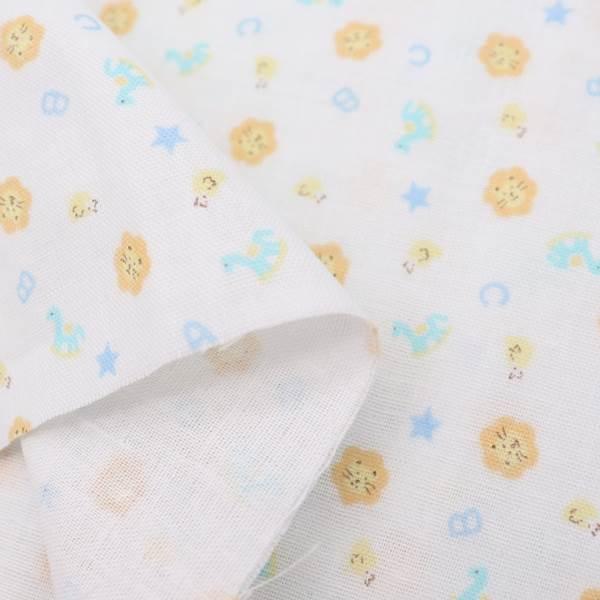 【抗菌・抗ウィルス】クレンゼ ダブルガーゼ プリント ライオン柄 50cmカットクロス