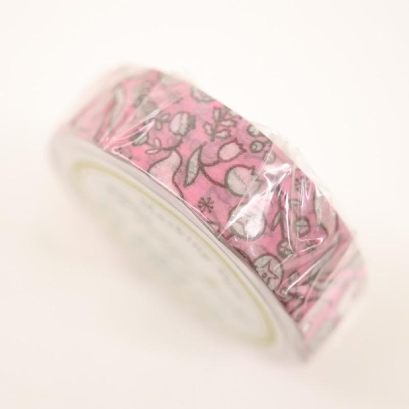 プチジョア マスキングテープ 鳥と花 ピンク 15mm×18m