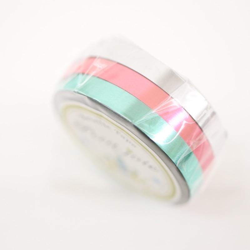 プチジョア メタリックテープ グリーン ピンク シルバー 5mm×10m 3巻