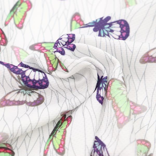 生地 抗菌ニットプリント 蝶柄 白