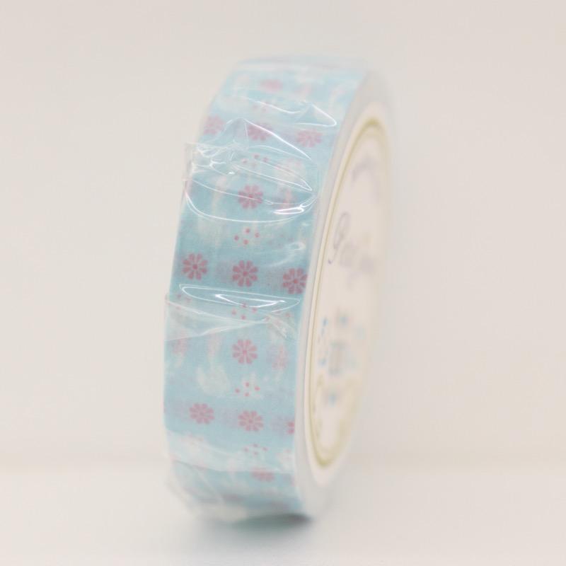 マスキングテープ ツバメと花 サックス 幅15mm×18m巻
