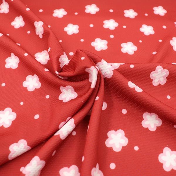 生地 抗菌ニットプリント 花柄 赤