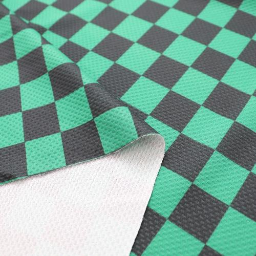 生地 抗菌ニットプリント 市松模様柄 グリーン×ブラック