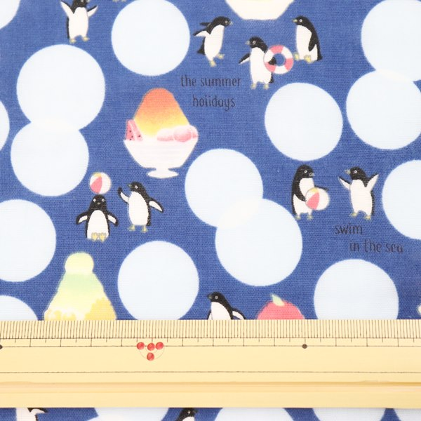 生地 ダブルガーゼプリント ペンギン柄