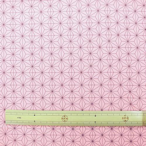 生地 抗菌ニットプリント麻の葉柄 ピンク
