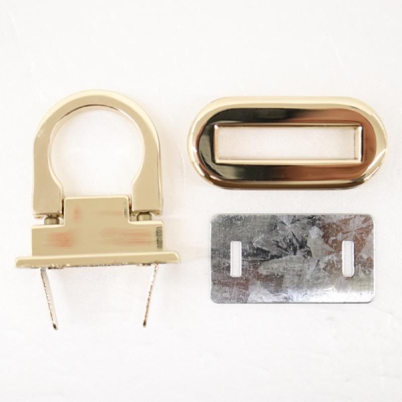 バッグ金具 楕円 オコシタイプ ゴールド