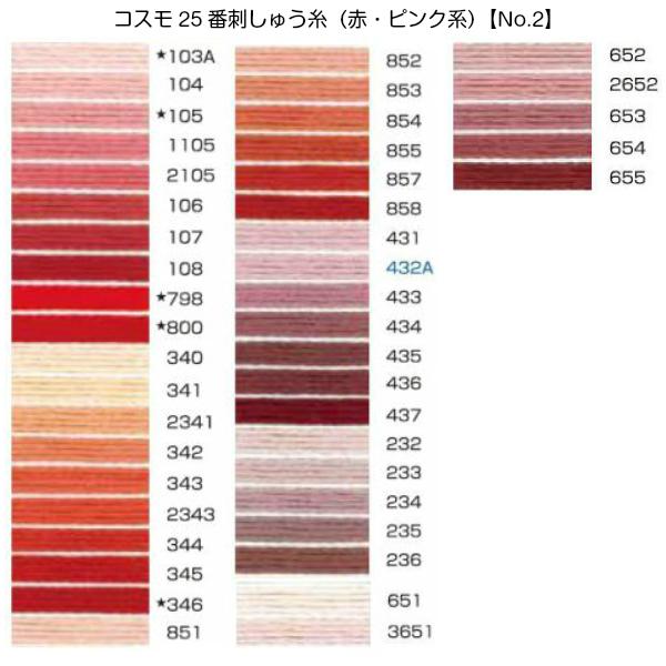 コスモ25番刺繍糸【赤・ピンク系】(No.2)