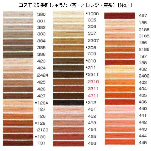 コスモ25番刺繍糸【茶・オレンジ・黄系】(No.1)