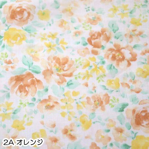 ダブルガーゼプリント 水彩タッチ花柄(50cm単位)
