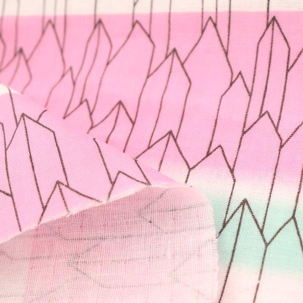 生地 ダブルガーゼプリント 矢絣柄 ホワイト系