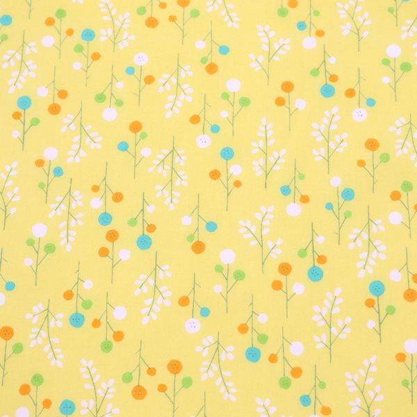 生地 スケアーフラワープリント ボタンのお花柄