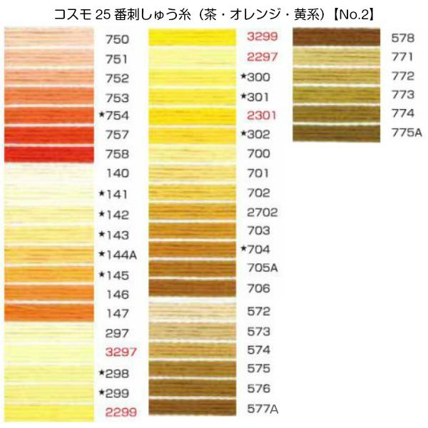 コスモ25番刺繍糸【茶・オレンジ・黄系】(No.2)