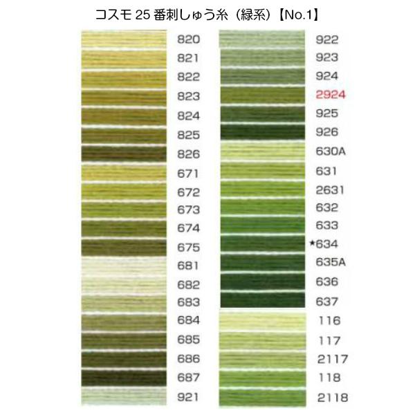 コスモ25番刺繍糸【緑系】(No.1)