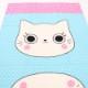 生地 nyan cat madeオックス ねこイラスト柄 サックス【パネル生地60cm】