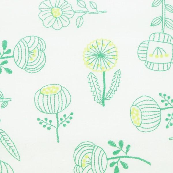 生地 ボタニカルプリント ステッチのお花柄