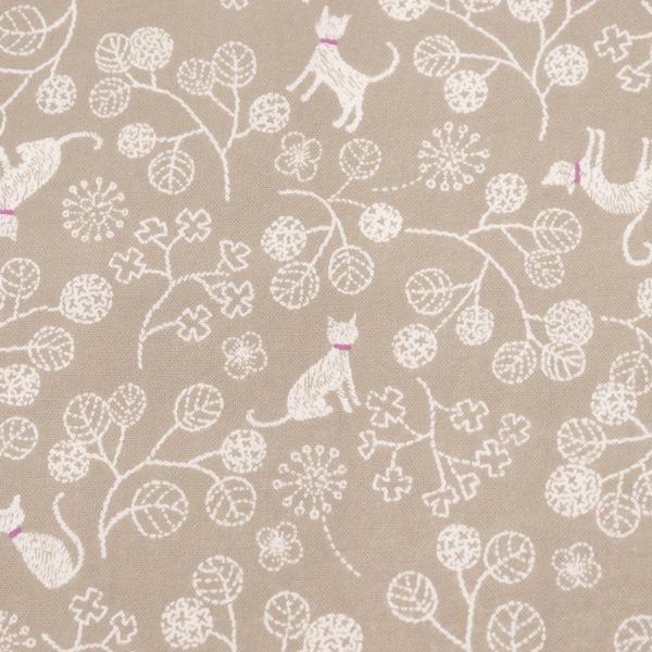 生地 スケアープリント ネコと植物柄