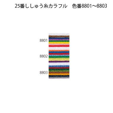 オリムパス25番刺繍糸 【8色カラフル(学習用)】
