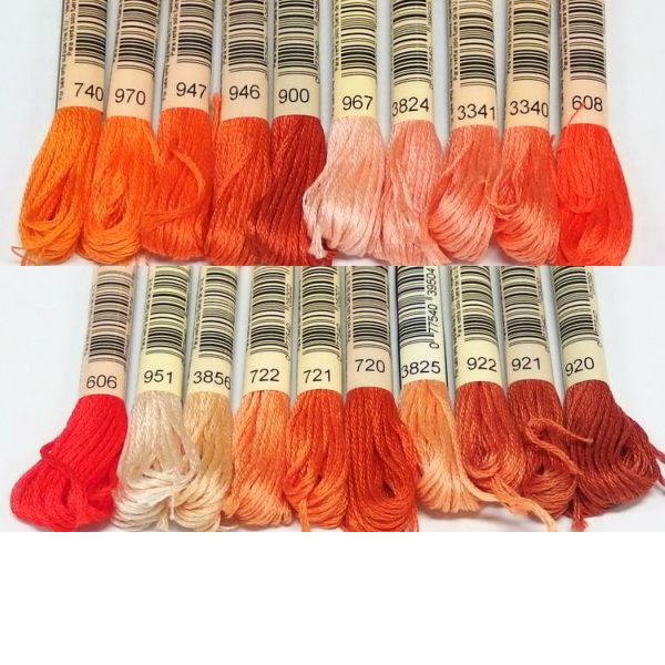 DMC 25番刺繍糸【茶・オレンジ系】