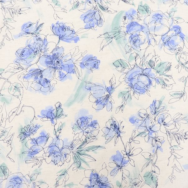 生地 綿麻シーチングプリント 水彩花柄