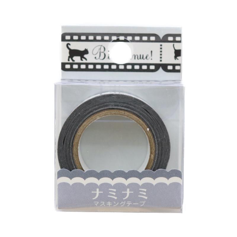 ナミナミマスキングテープ フィルム 黒ネコ 約幅15mm×10m巻