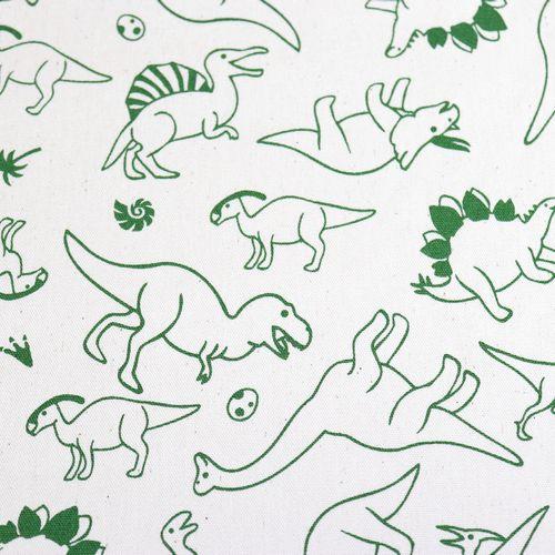 生地 オックスプリント 恐竜柄 生成り