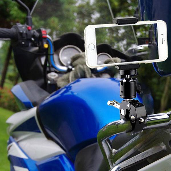 スマホ スマートフォン 携帯 クランプ マウント ホルダー アクセサリー セット 自転車 バイク ハンドルバー ベビーカー テレワーク おうち時間 固定 挟む スタンド 安い セール 取付け 可能 GoPro 8 ゴープロ カメラ アンドロイド アイフォン iPhone 対応