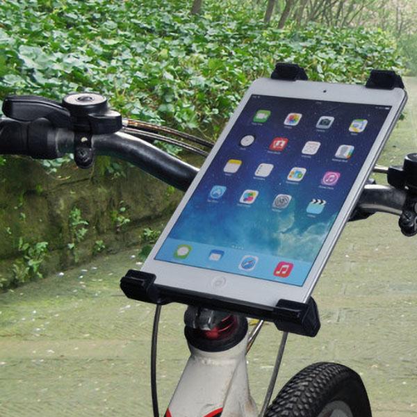 タブレット iPad ホルダー セット ハンドル パイプ マイクスタンド マウント アイパッド 固定 360度 回転 クロスバイク ロードバイク 自転車 棒 ベビーカー 挟む ブリッジ レシピ 楽譜 youtube ユーチューブ 動画 映像 映画 鑑賞 手ぶら 赤ちゃん 子供