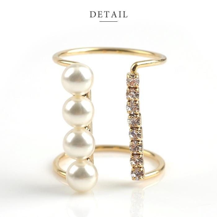 【ゆうパケット】リング 指輪 ダブル フォークリング クラシカル パール ビジュー ゴールド 金  レディース シンプル デザイン 重ね着け  人気 流行 ブランド デザインリング プレゼント アクセサリー