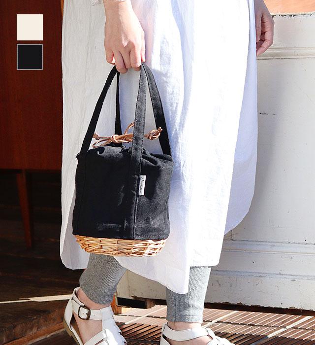 柳キャンバス クーラー巾着バッグ (ブラック / ホワイト) CARMELINA / カルメリーナ WPL md