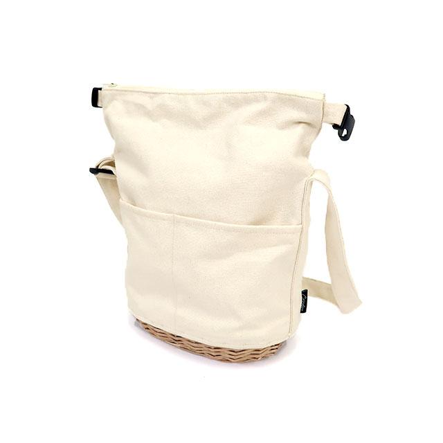 柳キャンバス ロールトップショルダーバッグ (ブラック / ホワイト) CARMELINA / カルメリーナ WPL md