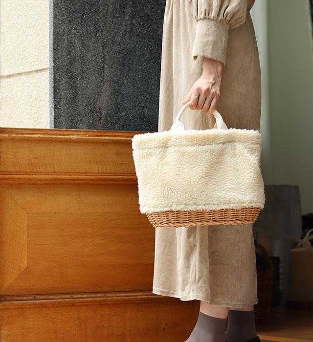 柳ボアオーバルバッグ (3色) CARMELINA / カルメリーナ