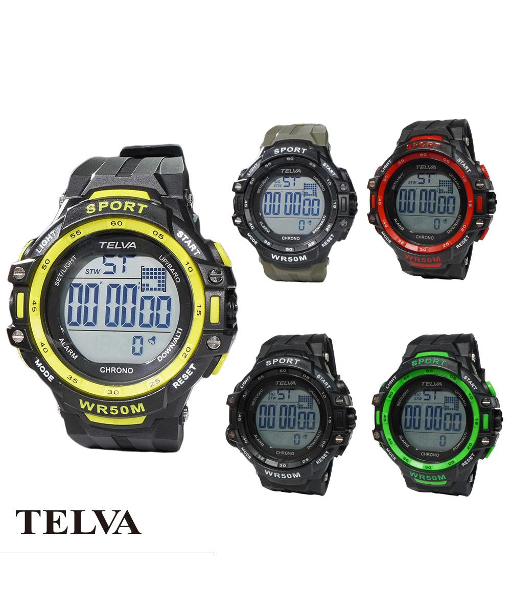 TELVA テルバ デジタルウオッチ ストップウォッチ機能付き【TE-D281】