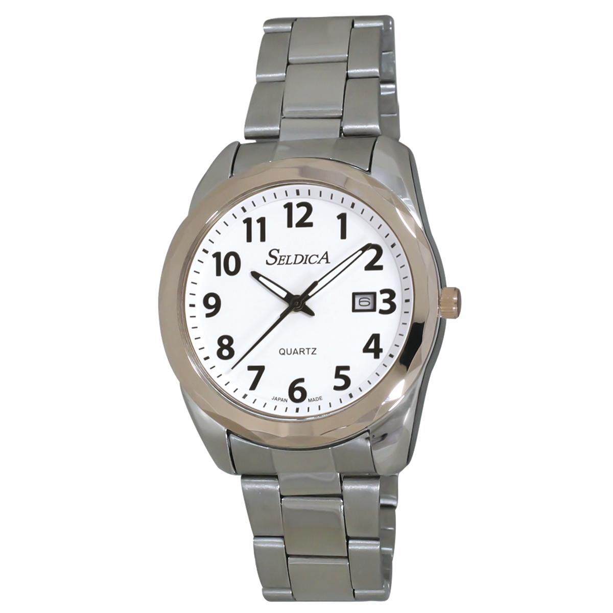 日本製腕時計 メンズステンレスベルト SELDICA アナログ【SD-AM048】