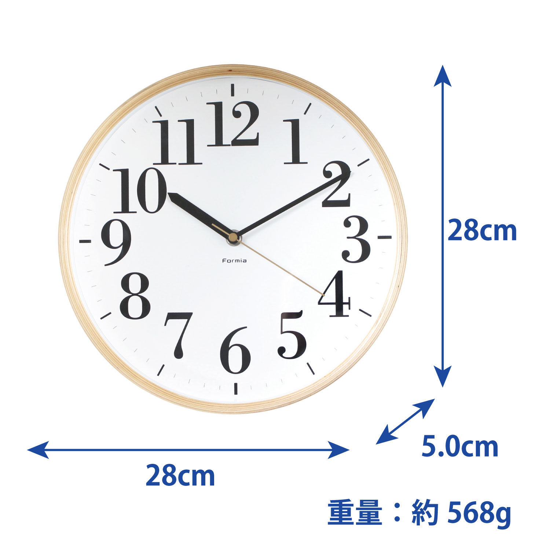 木枠掛け時計 連続秒針 ウッド Formia【HIC-003】