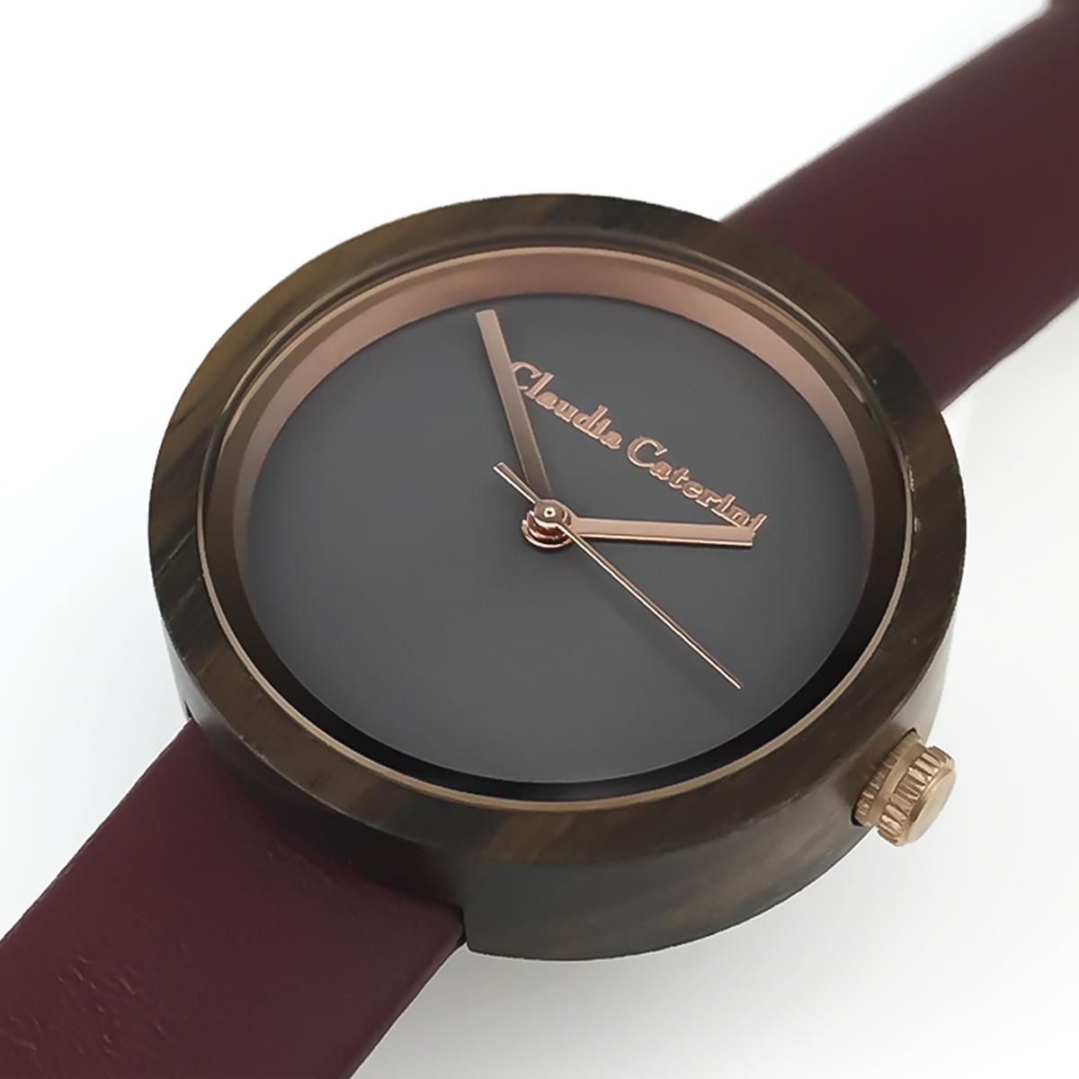 Claudia Caterini クラウディアカテリーニ ウッドウオッチ アナログウオッチ 腕時計 本革 レディース【CC-A116】