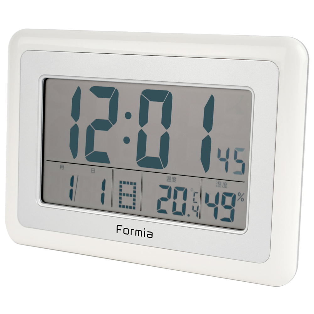 電波デジタル目覚まし時計 掛け置き 大画面 Formia【HT-003】
