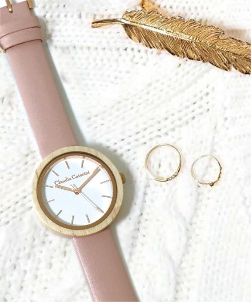 Claudia Caterini クラウディアカテリーニ ウッドウオッチ アナログウオッチ 腕時計 本革 レディース【CC-A117】