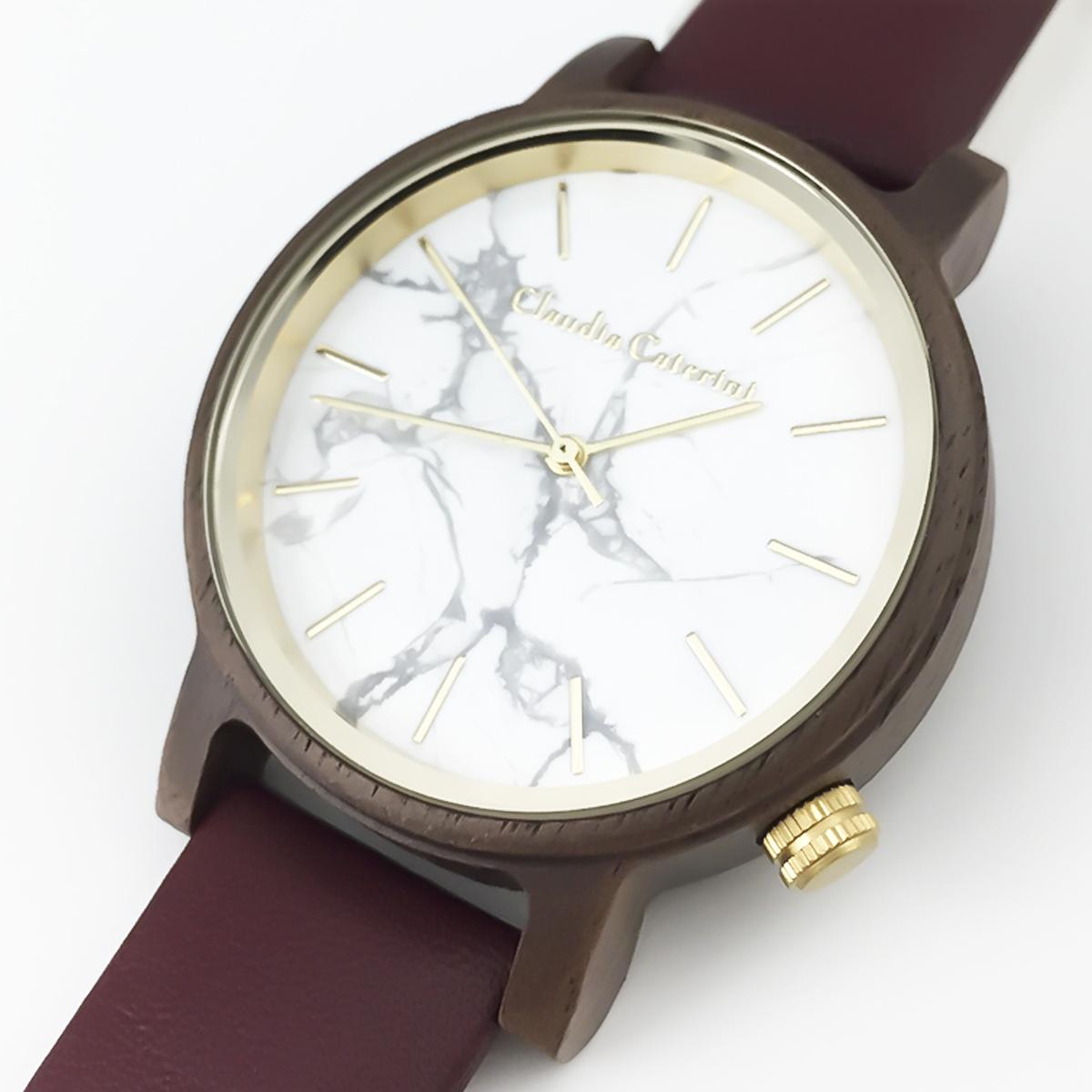 Claudia Caterini クラウディアカテリーニ ウッド&マーブルウオッチ アナログウオッチ 腕時計 本革レディース【CC-A119】