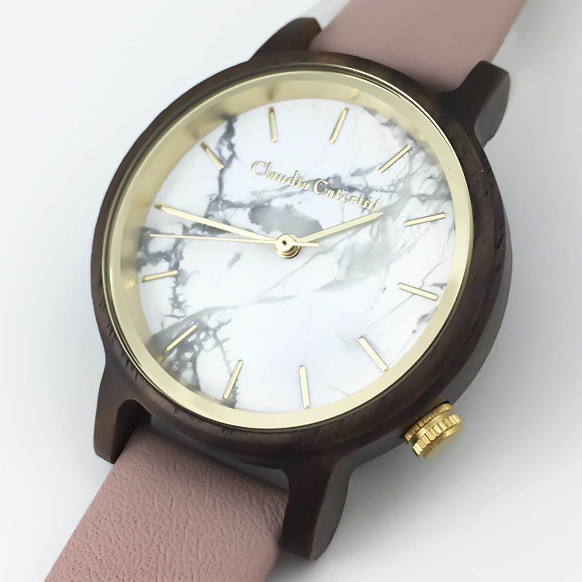 Claudia Caterini クラウディアカテリーニ ウッド&マーブルウオッチ アナログウオッチ 腕時計 本革レディース【CC-A120】