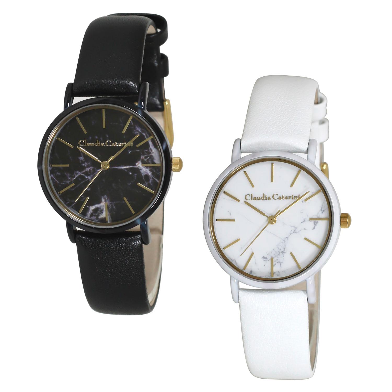 Claudia Caterini クラウディアカテリーニ マーブルデザインウオッチ アナログウオッチ 腕時計 本革レディース【CC-A122】