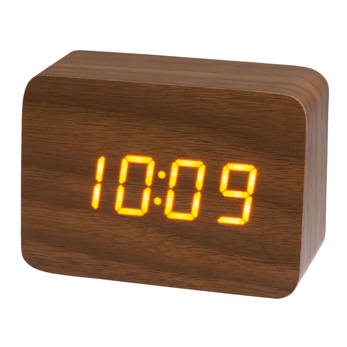 木目クロック 置き時計 目覚まし時計 木調 小型 ミニ インテリア ウッド LED PLUSDECO プラスデコ【IAC-5656】